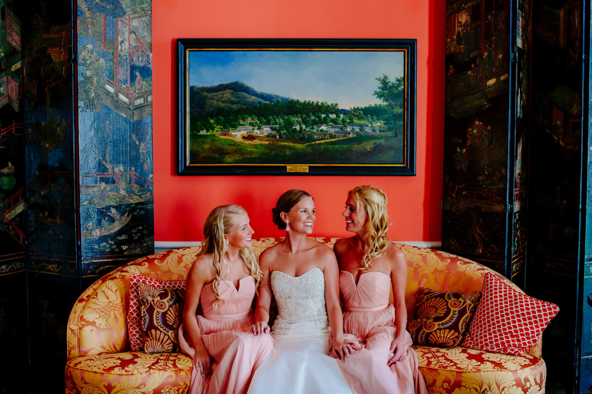 bridesmaids in the grace kelly room at the greenbrier resort by west virginia wedding photographers the oberports