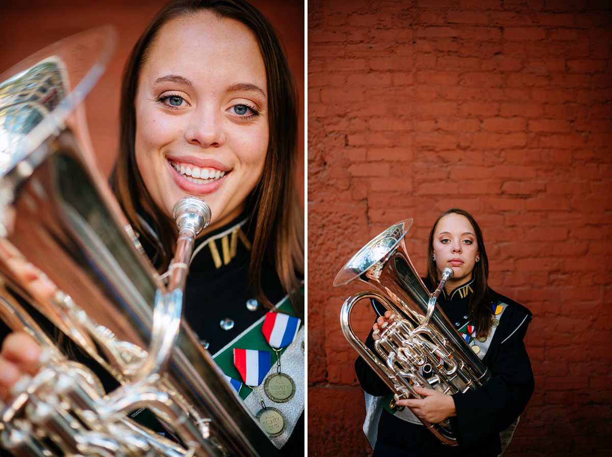 charleston wv high school senior portraits euphonium