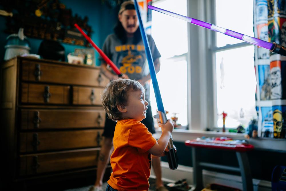 family light saber playtime