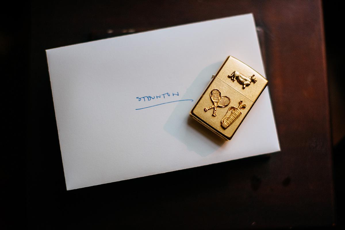 groom present corgi tennis golf lighter