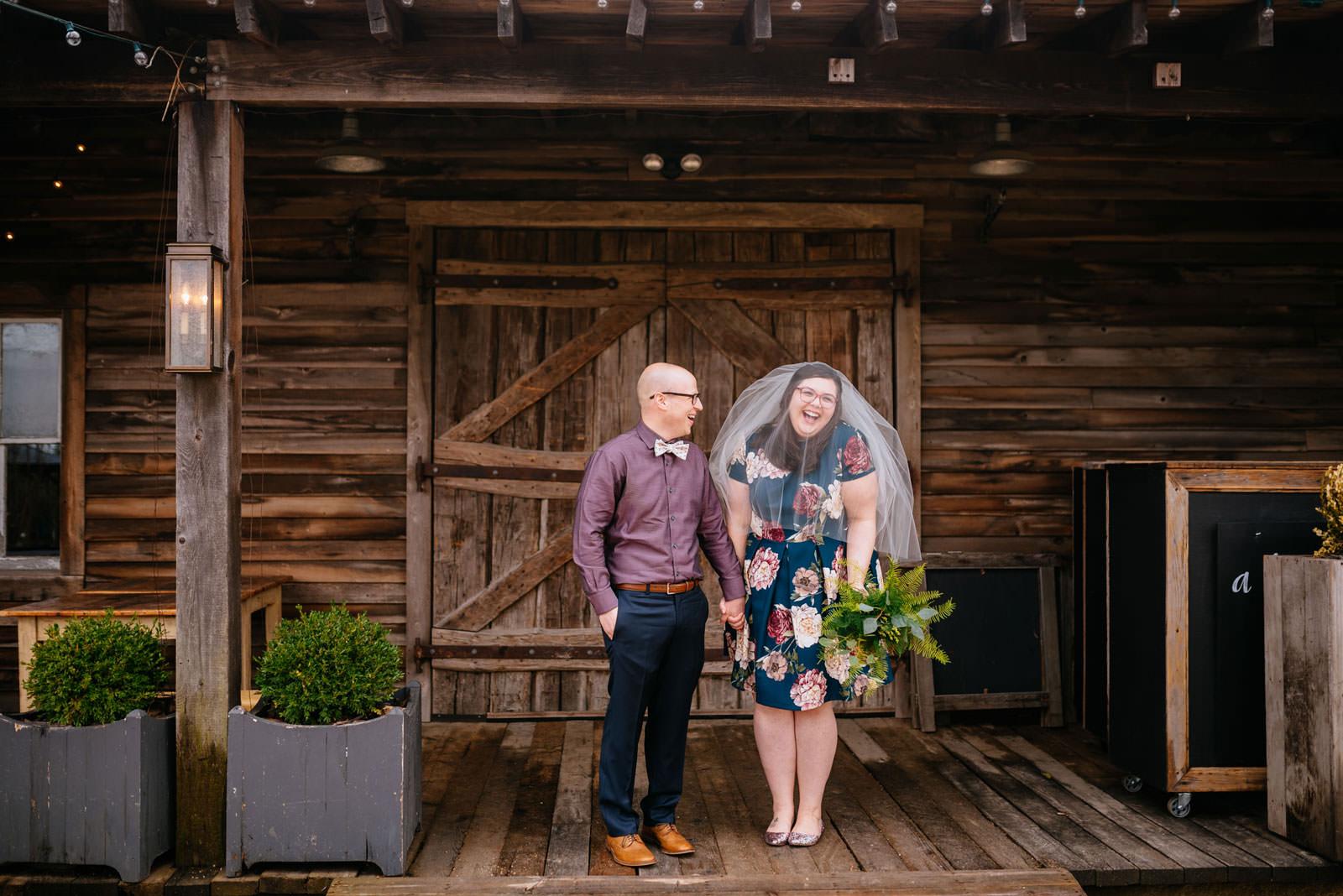 happy bride groom portrait terrain elopement philadelphia