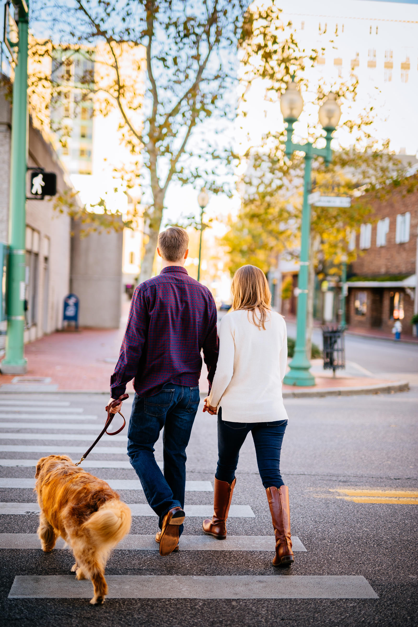 strolling downtown charleston with dog