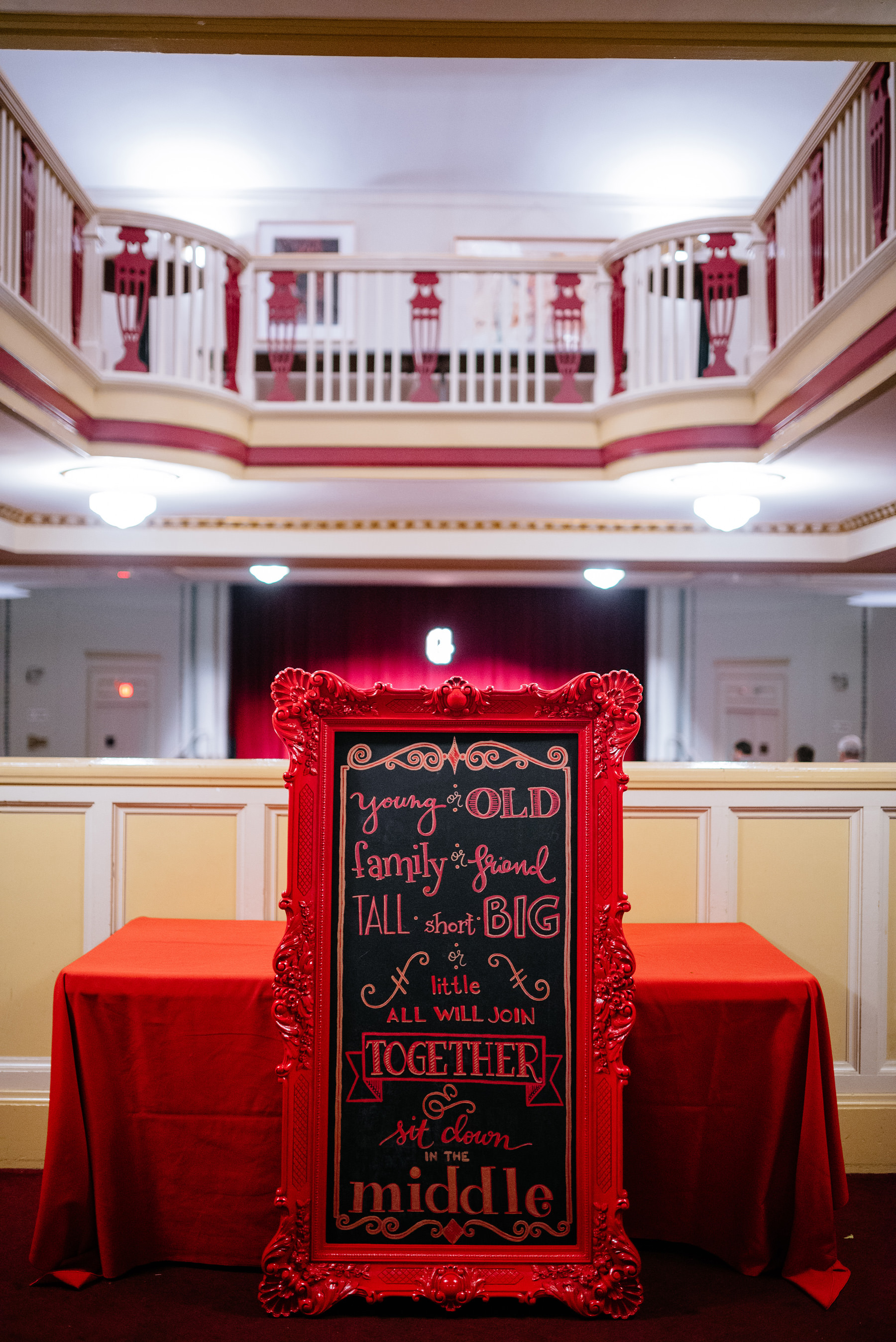 theater wedding ceremony signage