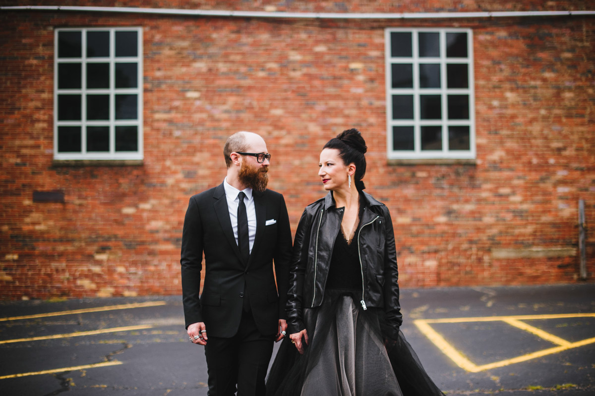 wedding fashion inspiration bride wearing rick owens stooges leather jacket