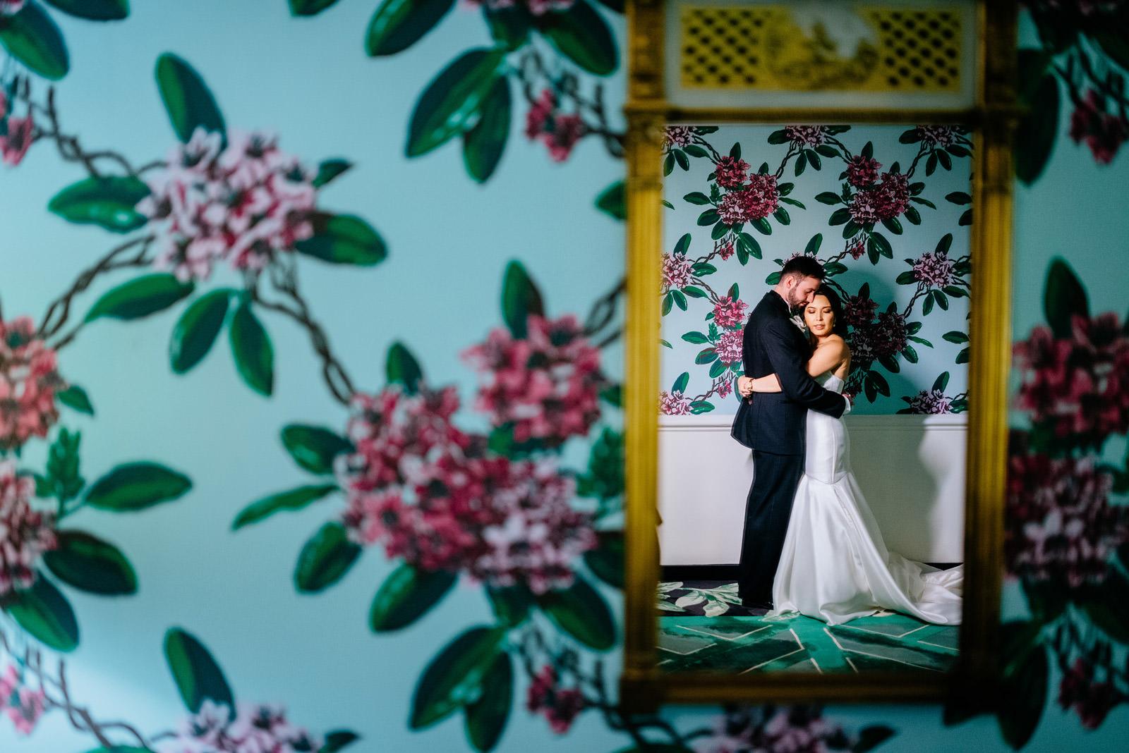 cinematic bride groom portrait greenbrier chapel wedding