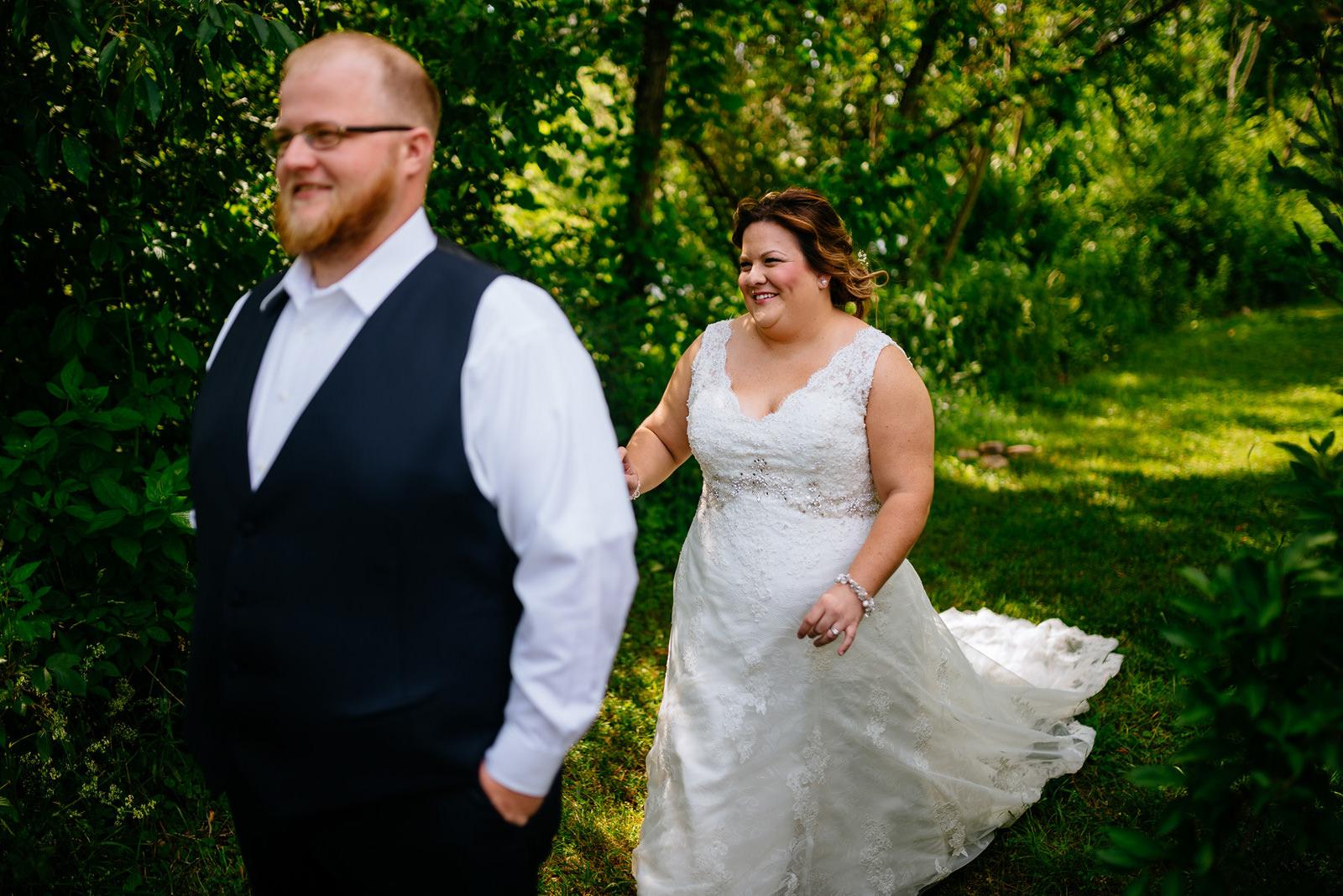 first look outdoor wedding