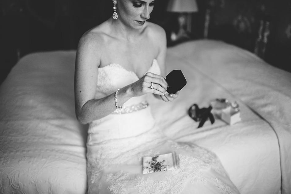modern elegant bride opening gift