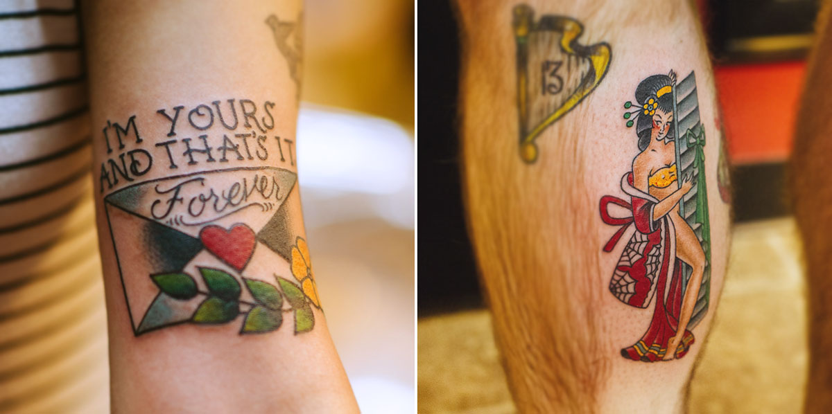 nick quinn tattoo artist sailor jerry flash engagement session by the oberports