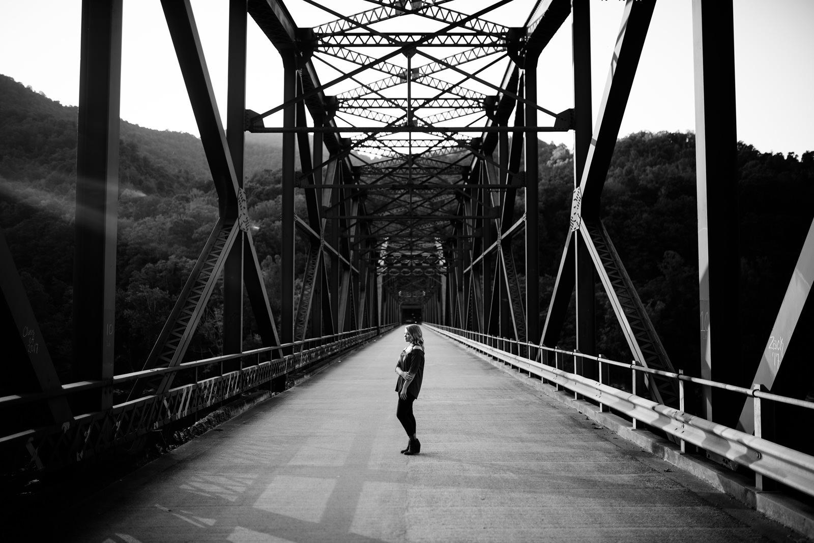 wv senior portraits on bridge