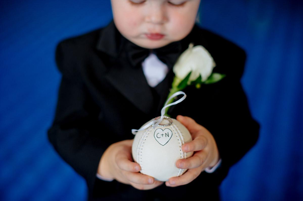 baseball ring bearer pillow for wedding ceremony