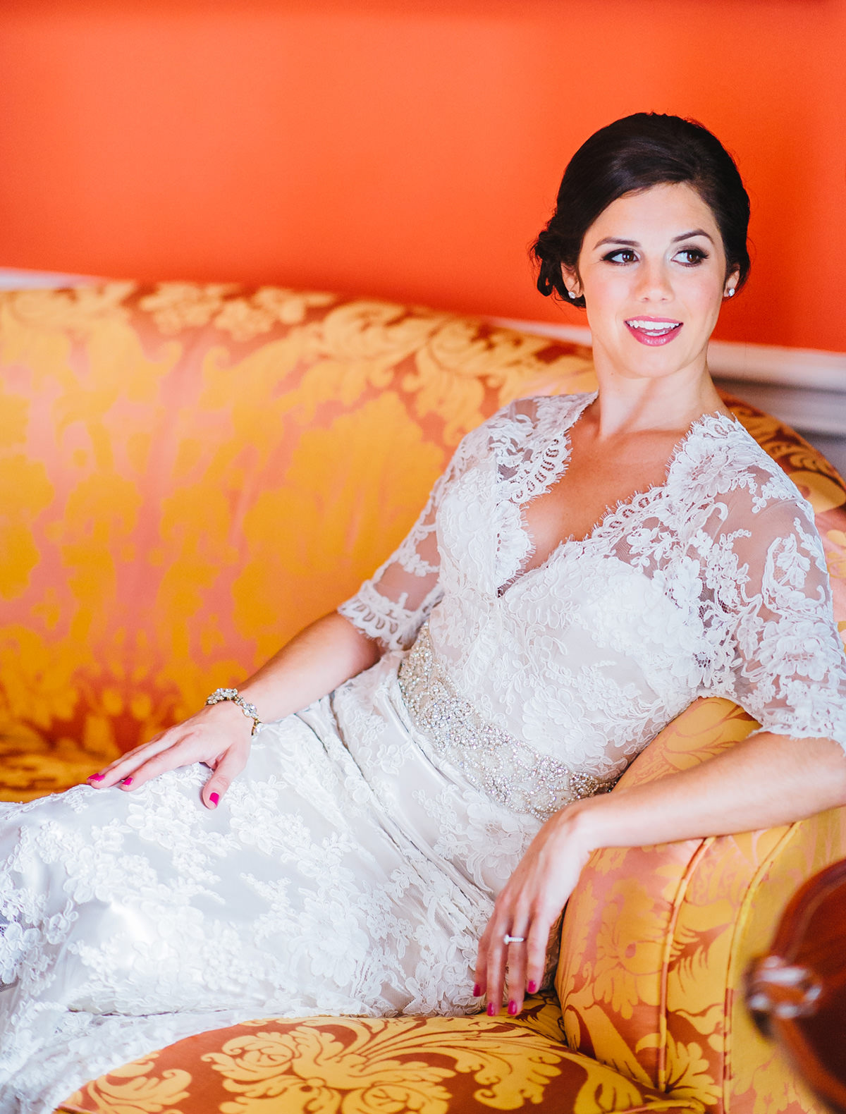 bridal portraits in the grace kelly room at the greenbrier resort