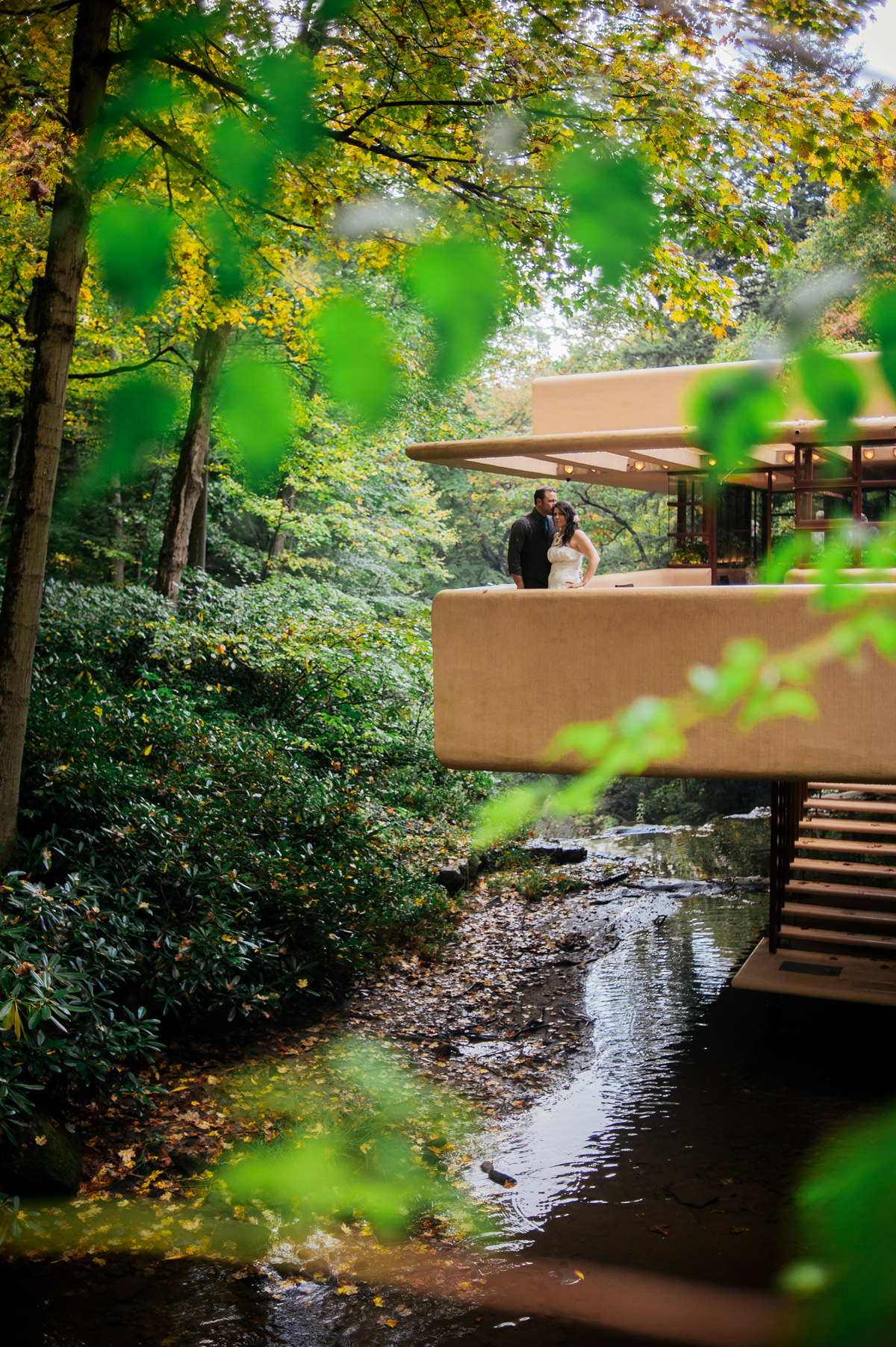 bride and groom portraits at fallingwater