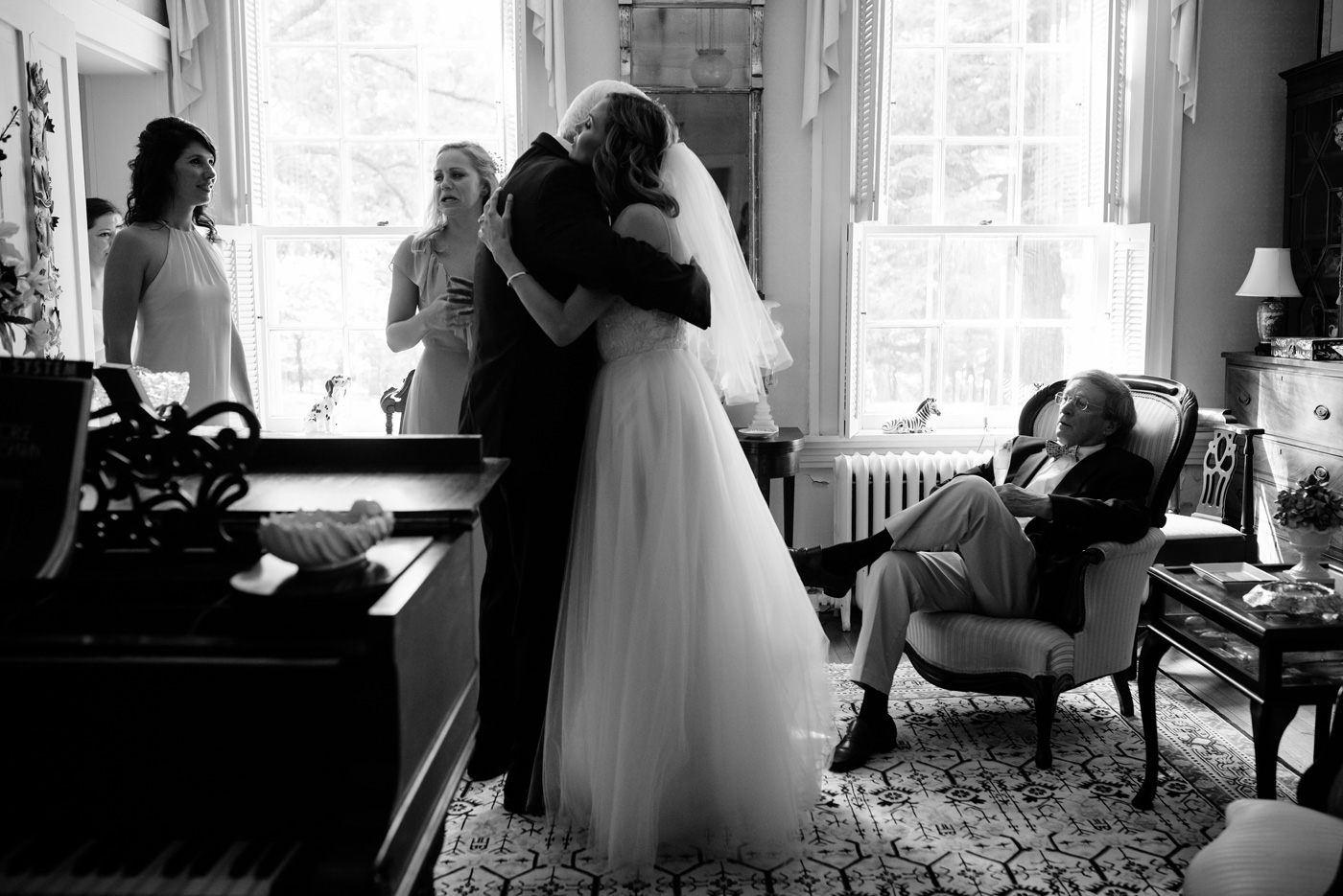 bride hugging her father on her wedding day
