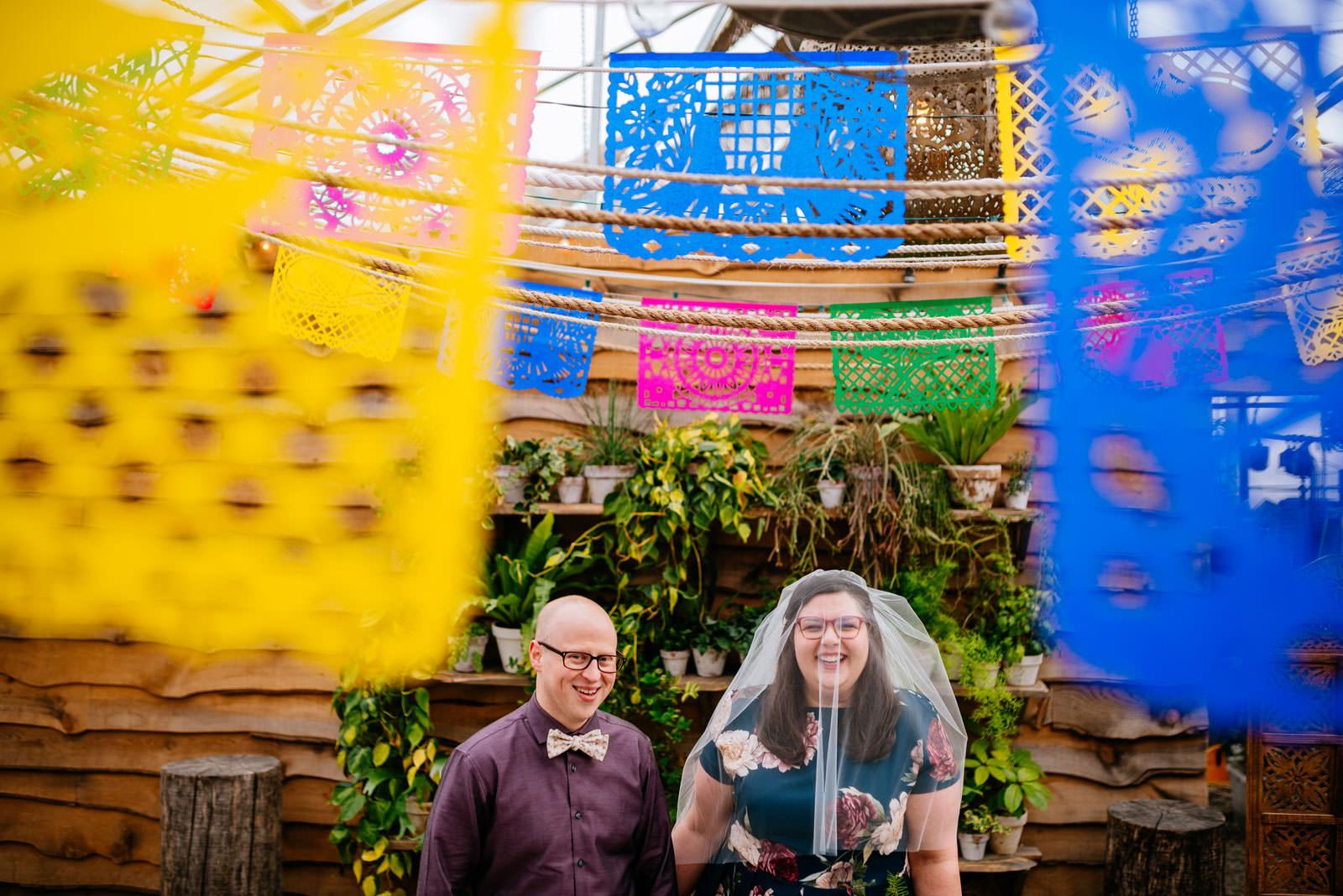 colorful greenhouse portait terrain elopement