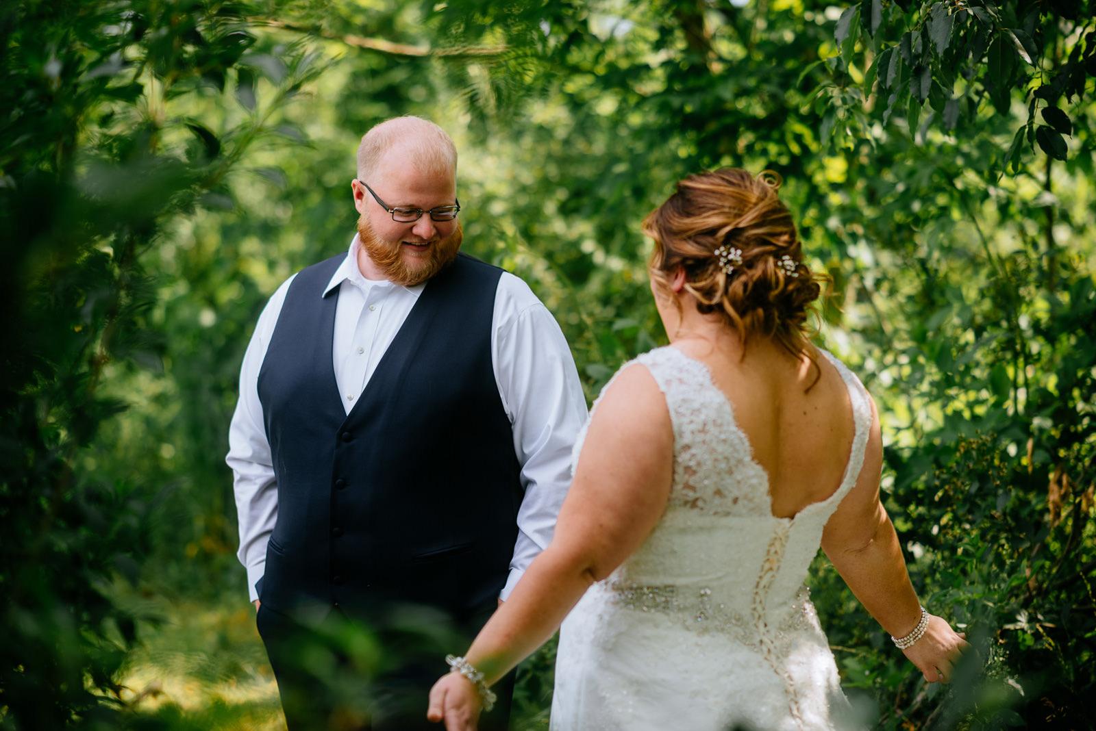 groom bride first look