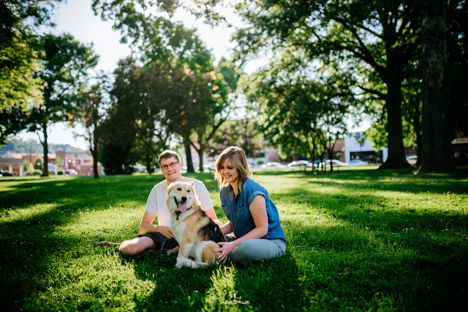 park engagement with dog