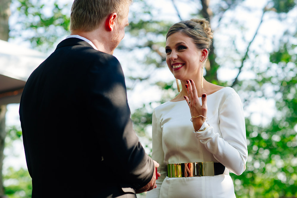 wv wedding ceremony bride with long sleeves