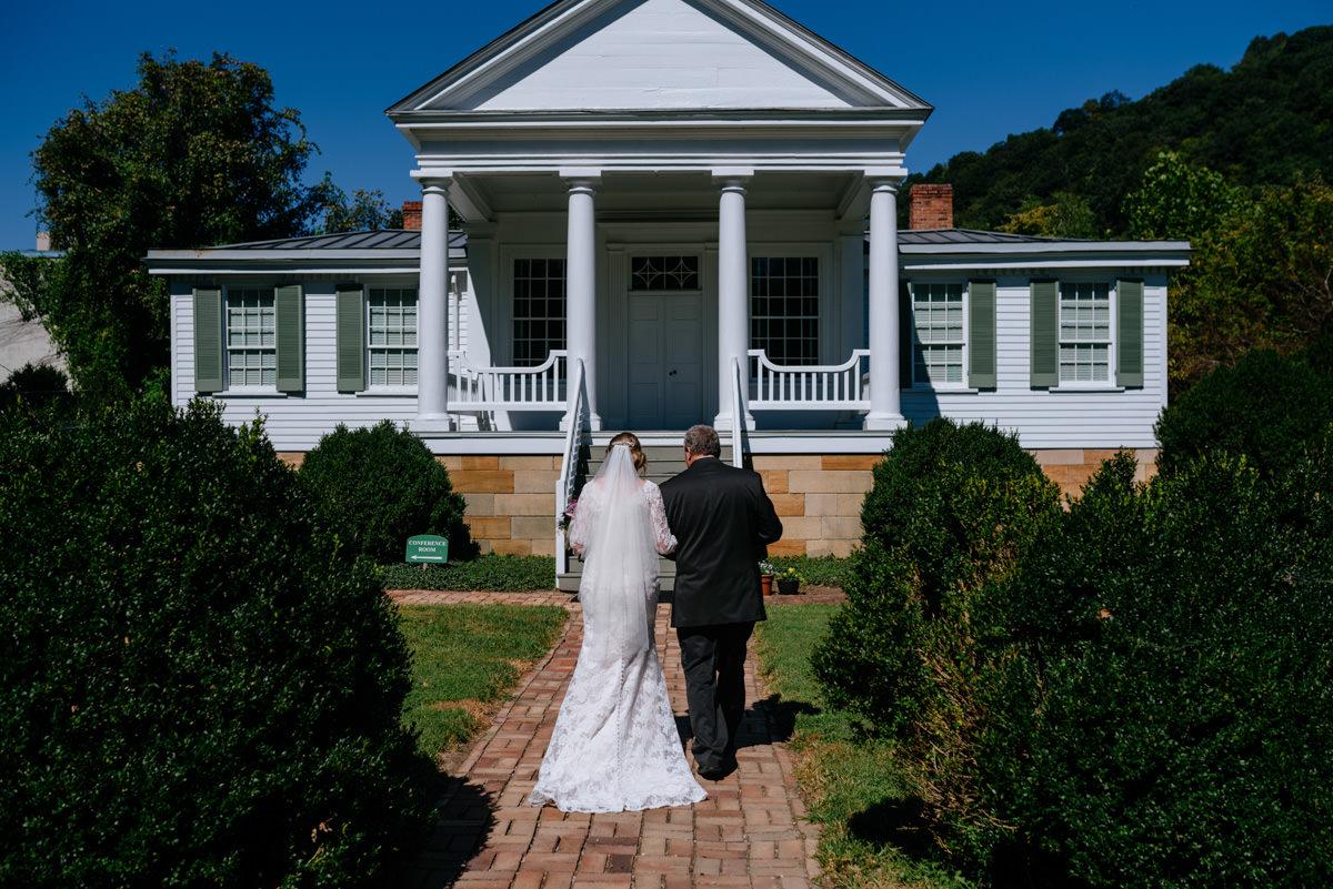 bride and father wedding candid craik patton house wedding