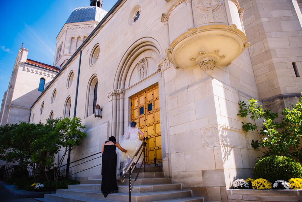 bride entering church wheeling west virginia wedding