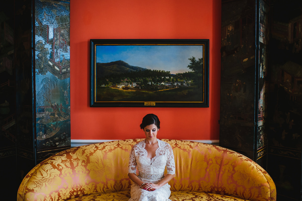 bride in the grace kelly room at the greenbrier resort by the oberports