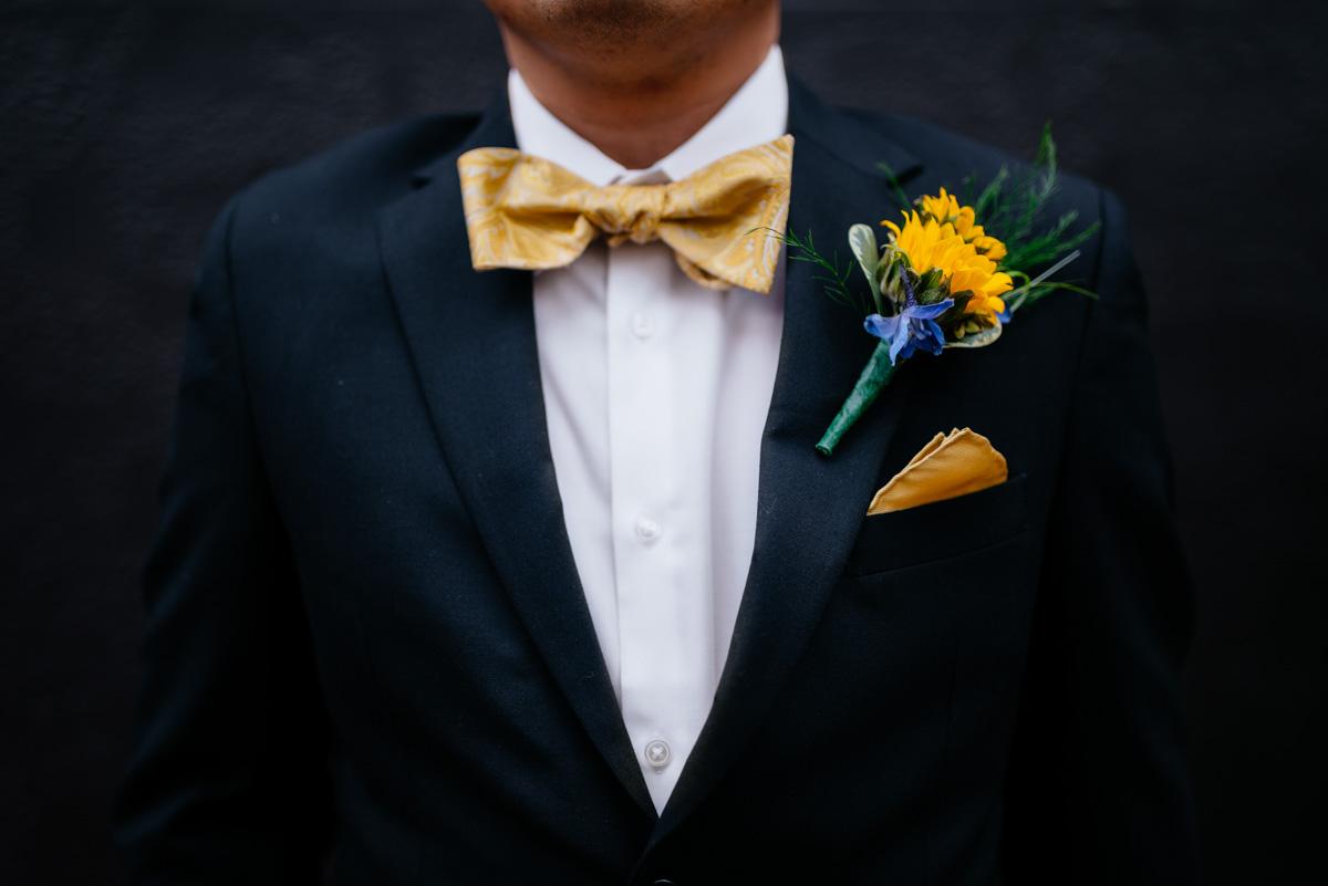 charleston wv wedding groom wears yellow bowtie