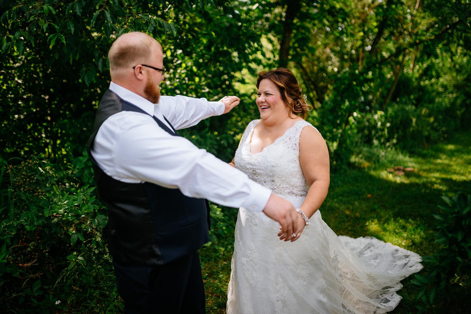 happy first look west virginia cheat river wedding