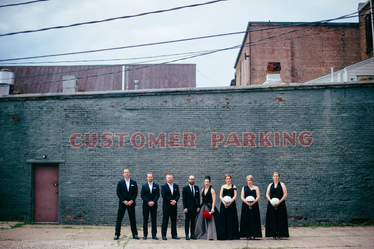 urban wedding party portrait by edgy charleston wv wedding photographers the oberports