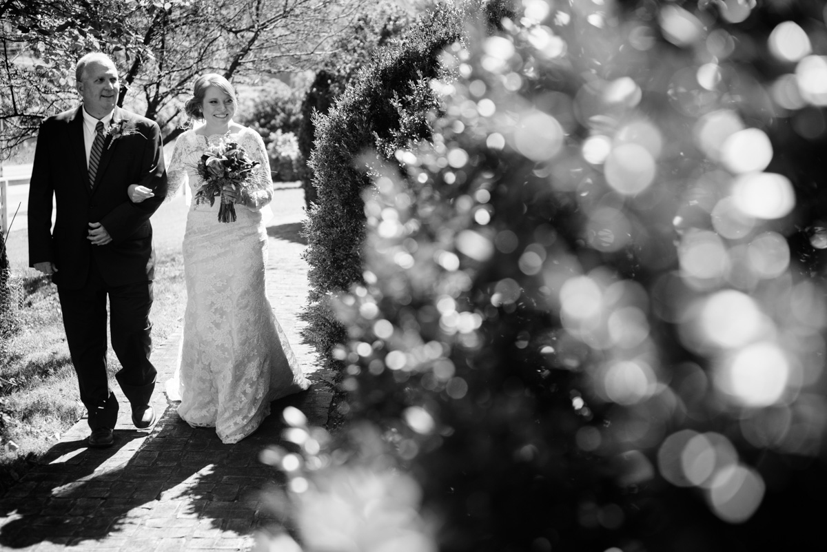 bride and father wedding candid craik patton house