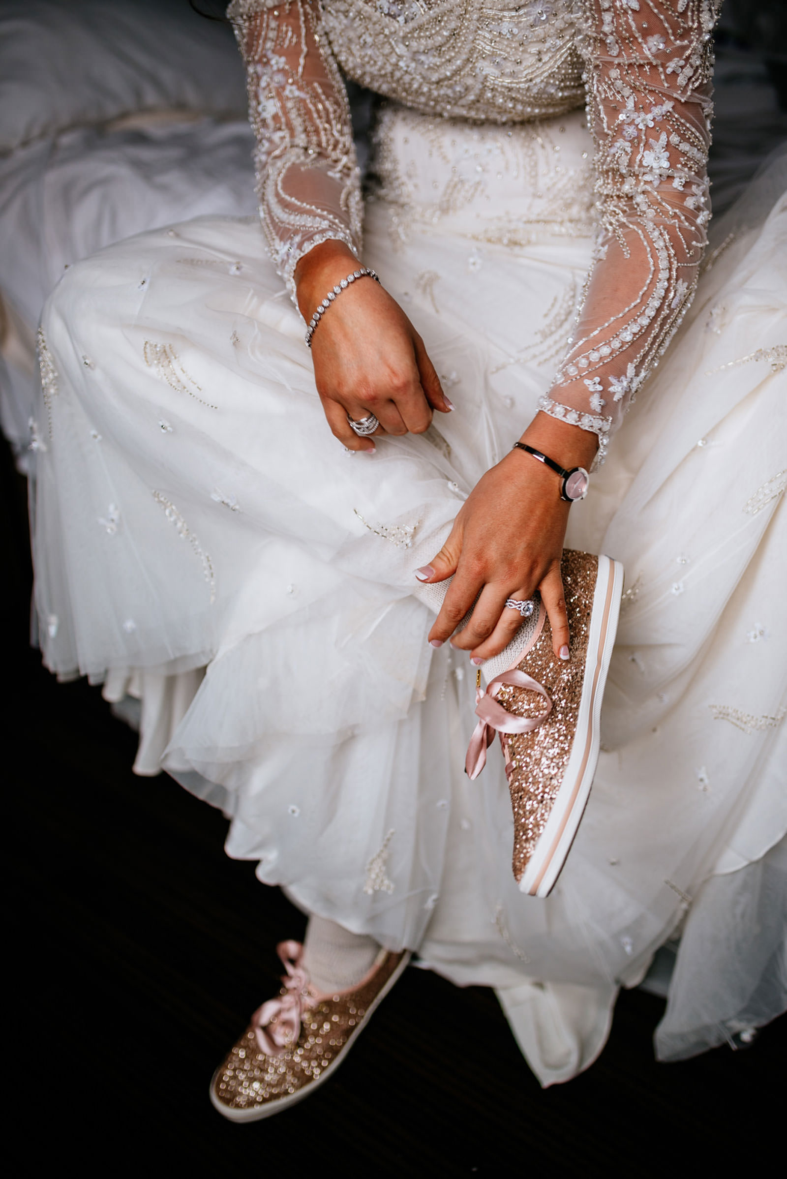bride with kate spade glitter keds sneakers