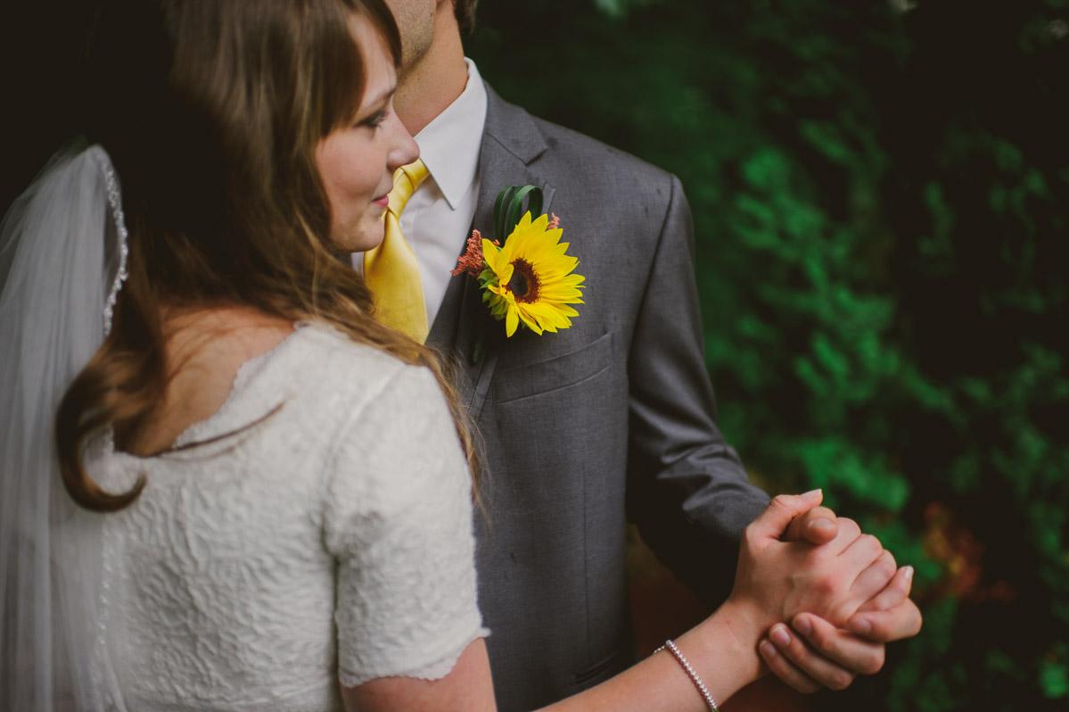 wv bride groom dancing sunflower boutonniere