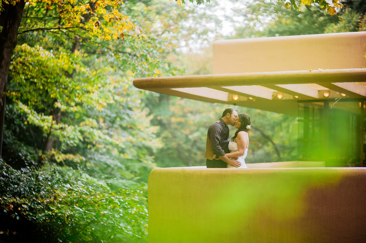 bride and groom portraits at fallingwater in autumn