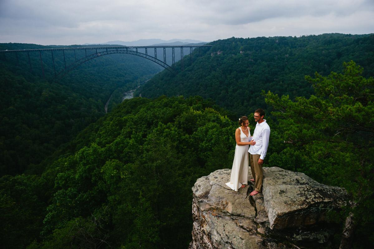 bride groom wedding portrait new river gorge bridge by the oberports