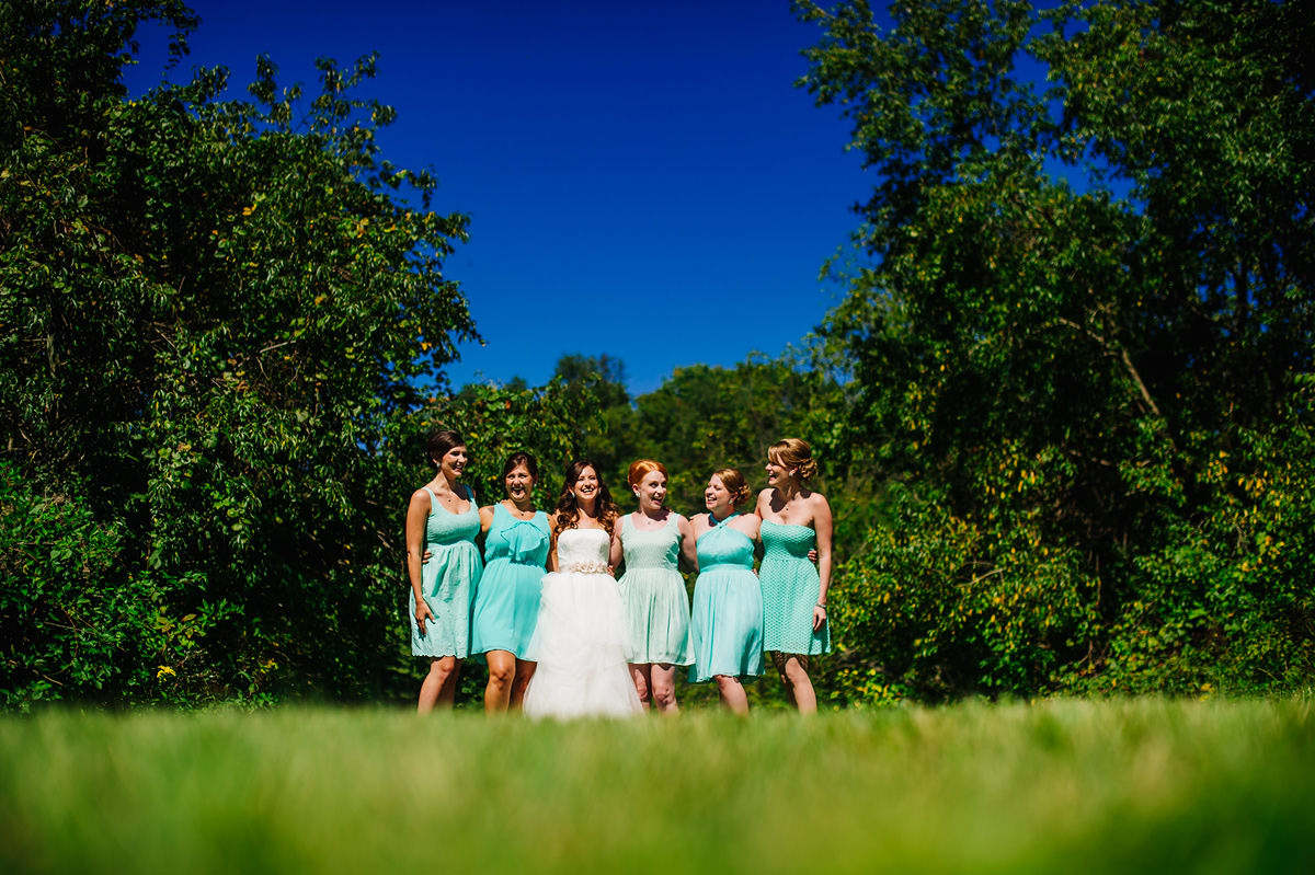 bridesmaid photo on a sunny day
