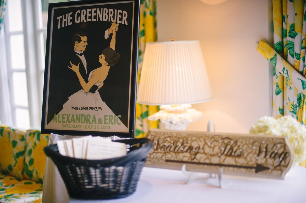 greenbrier resort wedding details retro poster