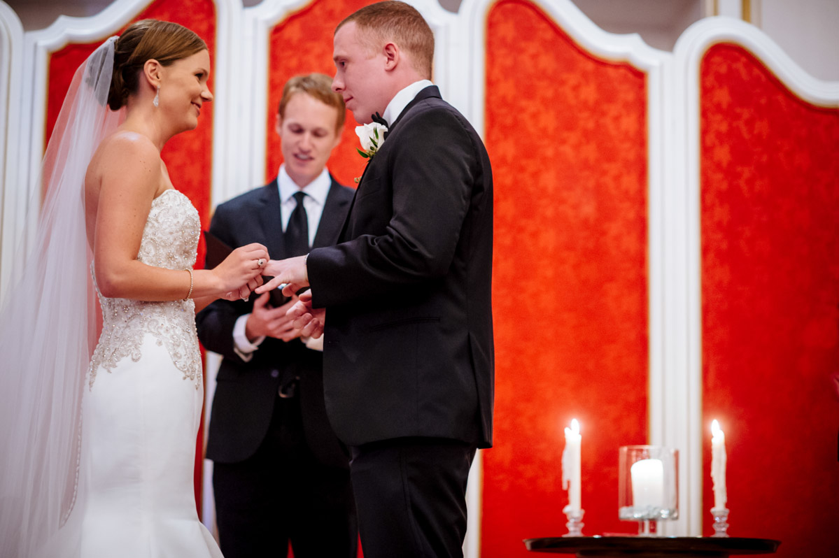 ring exchange greenbrier wedding ceremony in crystal room