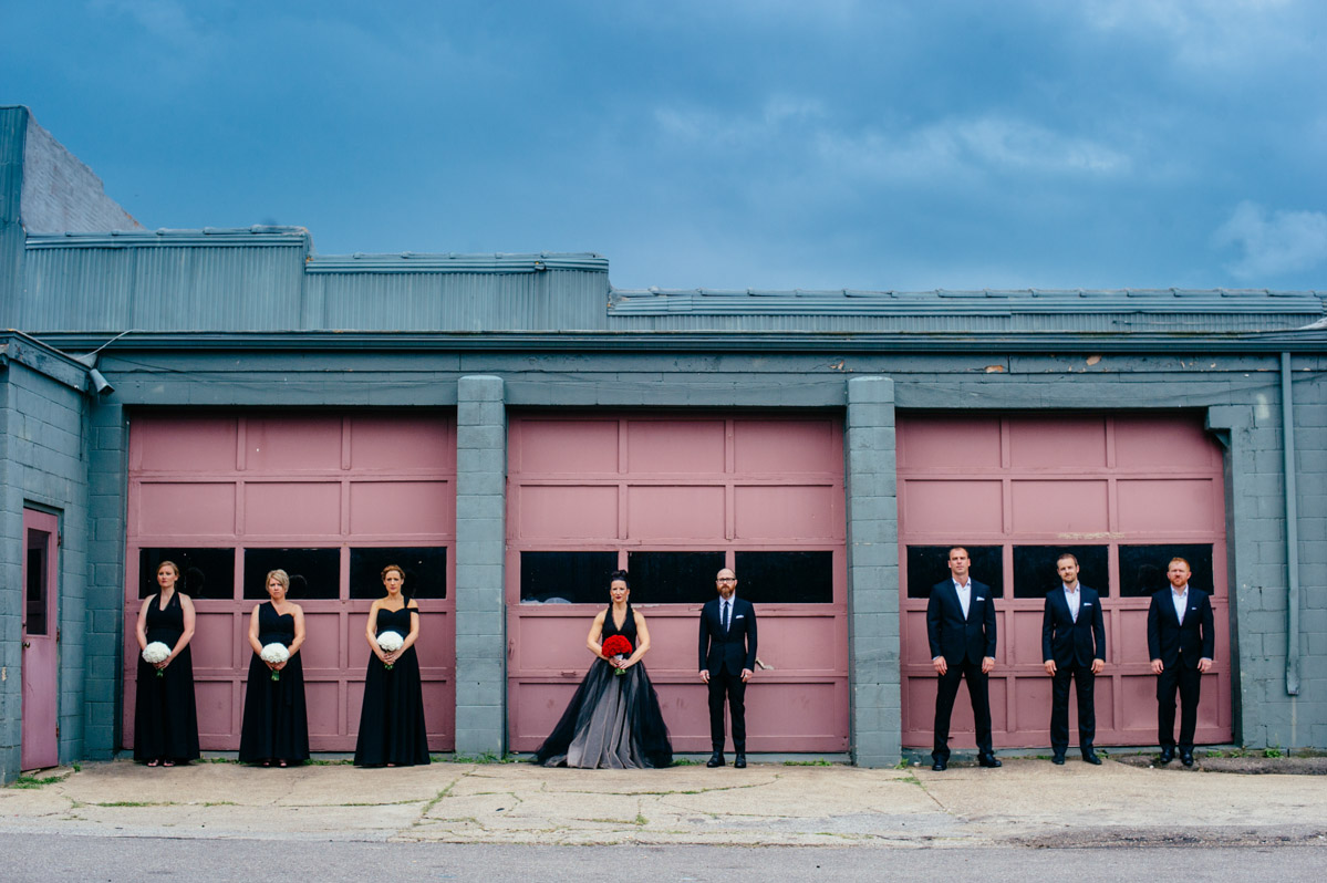 urban wedding party portrait by best charleston wv wedding photographers the oberports