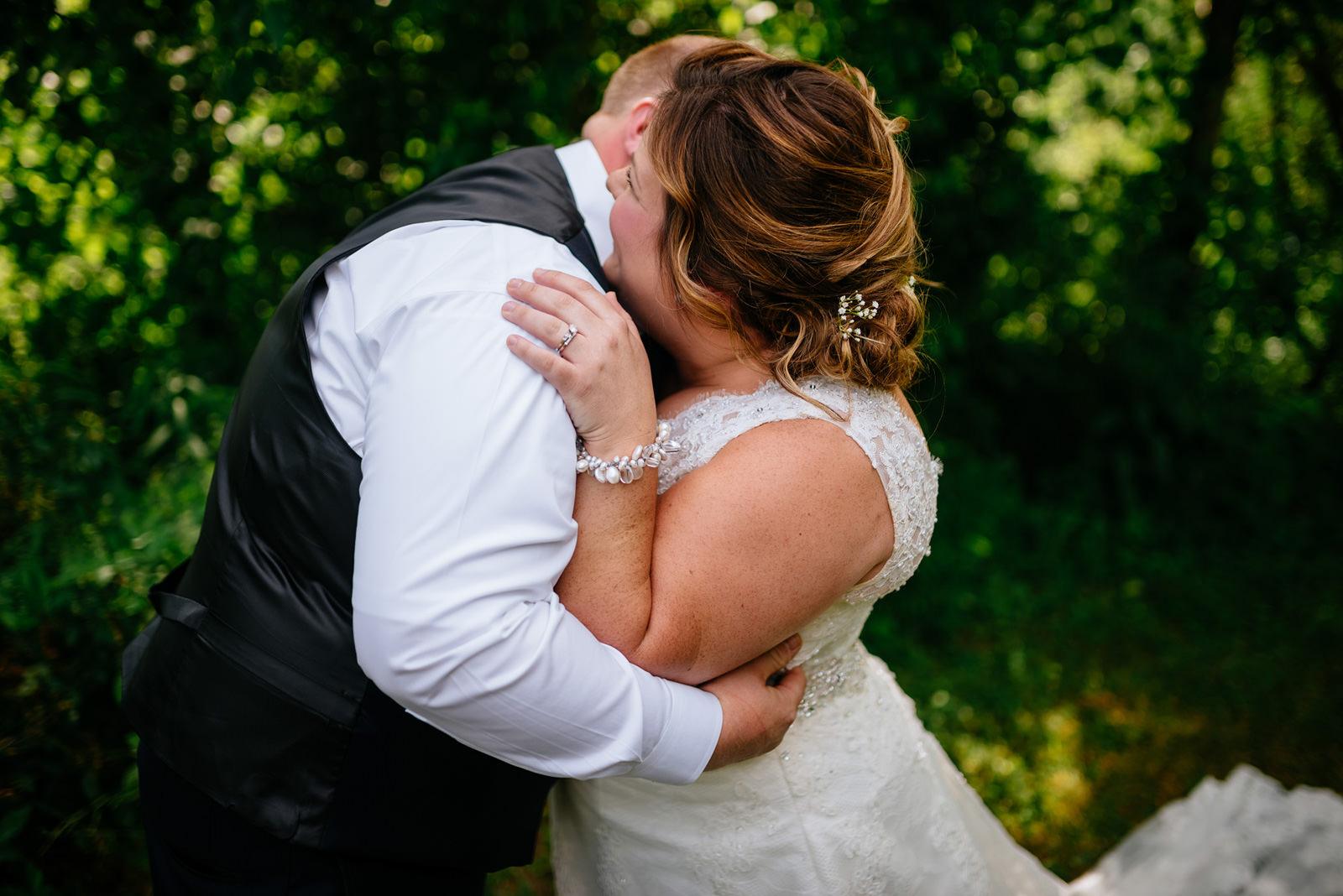 wedding first look hug wv