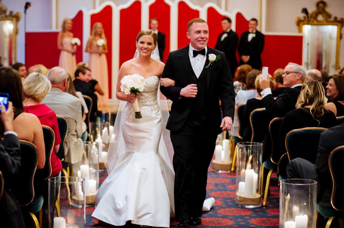 bride groom just married crystal room greenbrier hotel west virgnia