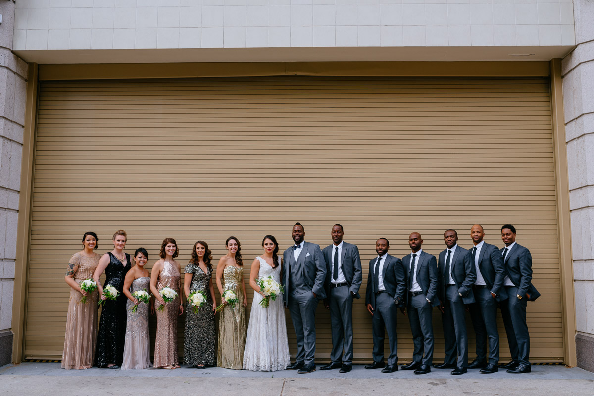 downtown dc wedding party portrait