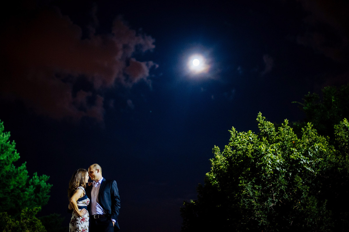 nighttime engagement photo in dc tidal basin moon