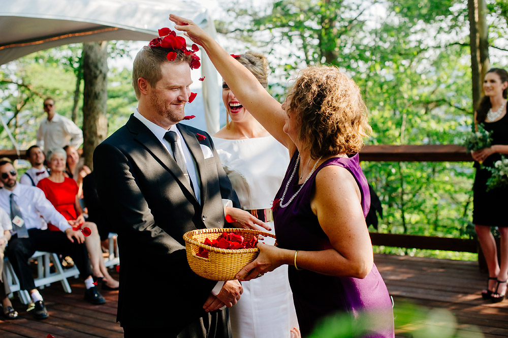 rose petals thrown after wedding ceremony