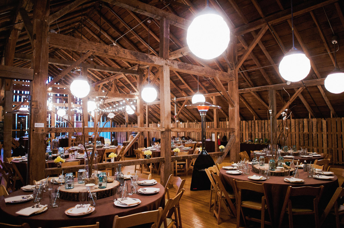 the barn at fallingwater wedding reception