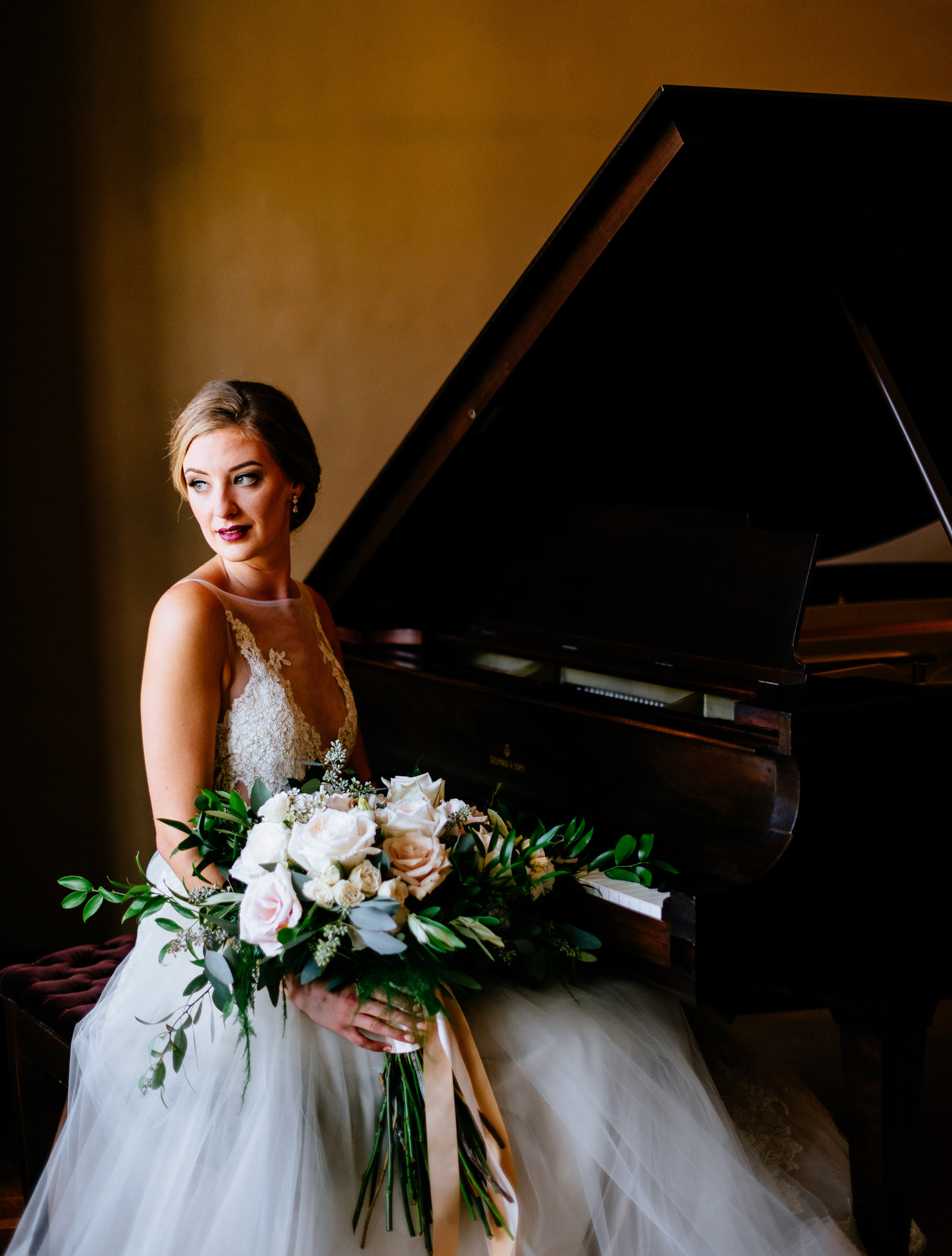 bridal portrait with piano