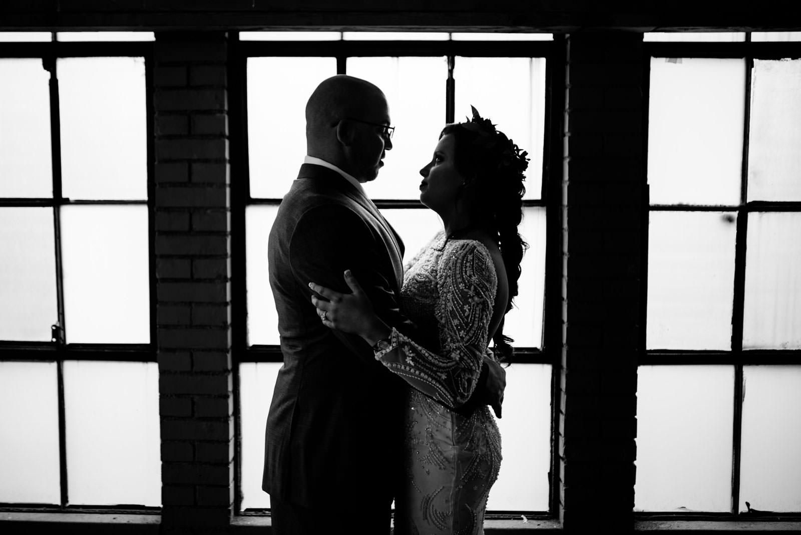 dark artistic bride groom portrait chestnut hotel morgantown wv wedding