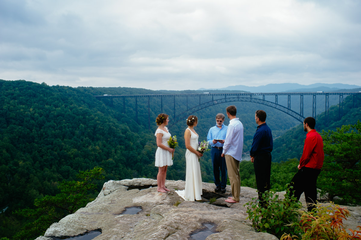 new river gorge long point trail wedding ceremony by best wv photographers the oberports