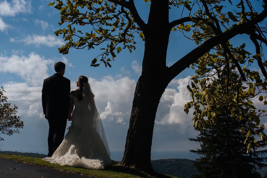 silhouette of bride and groom west virginia wedding