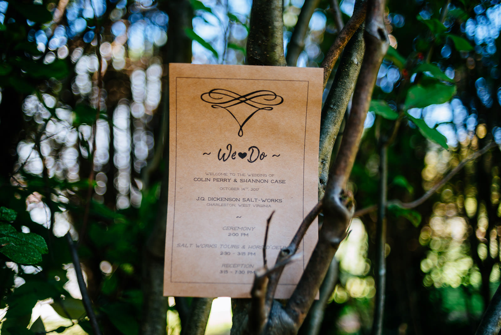 wedding program on kraft paper