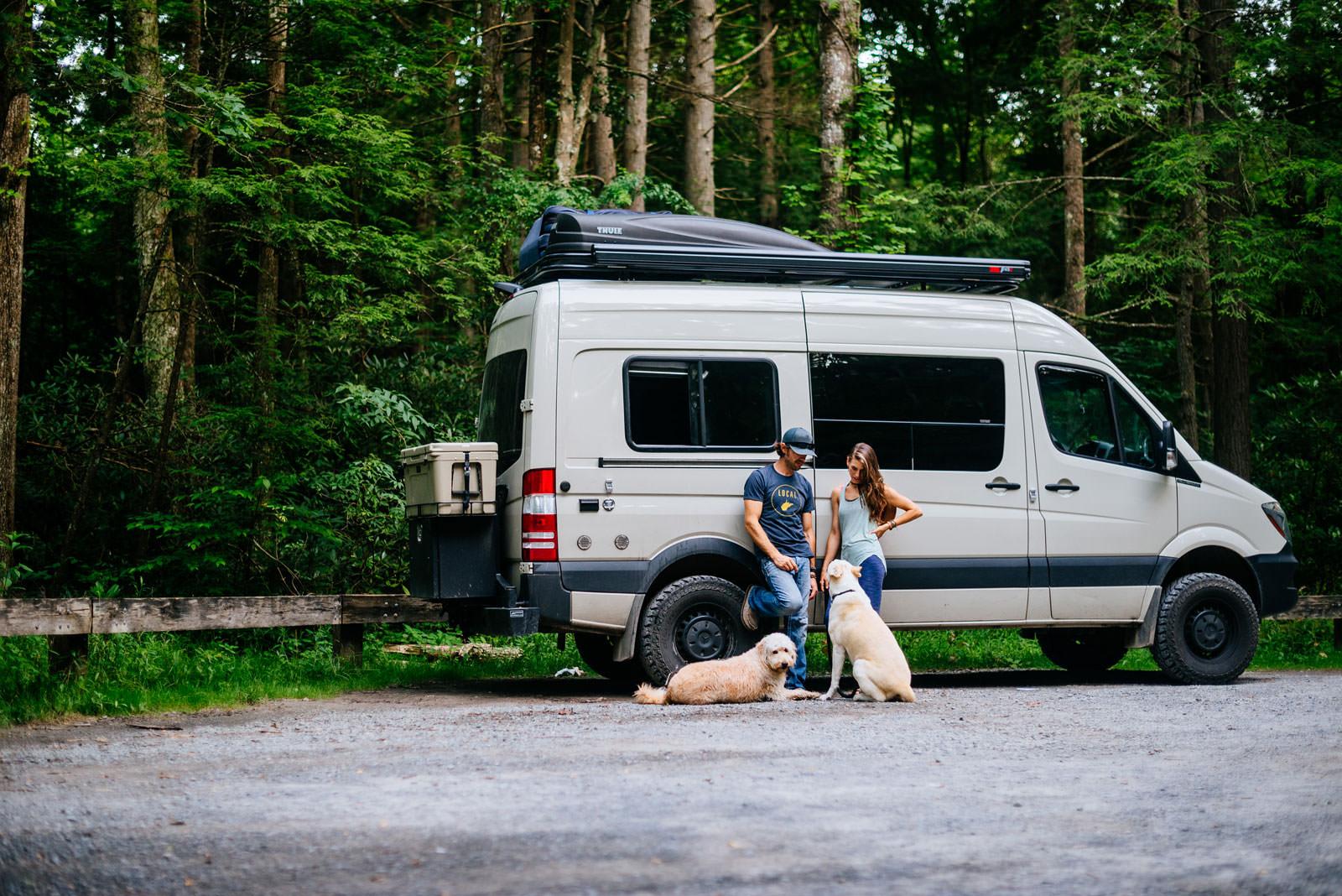camper van engagement pics