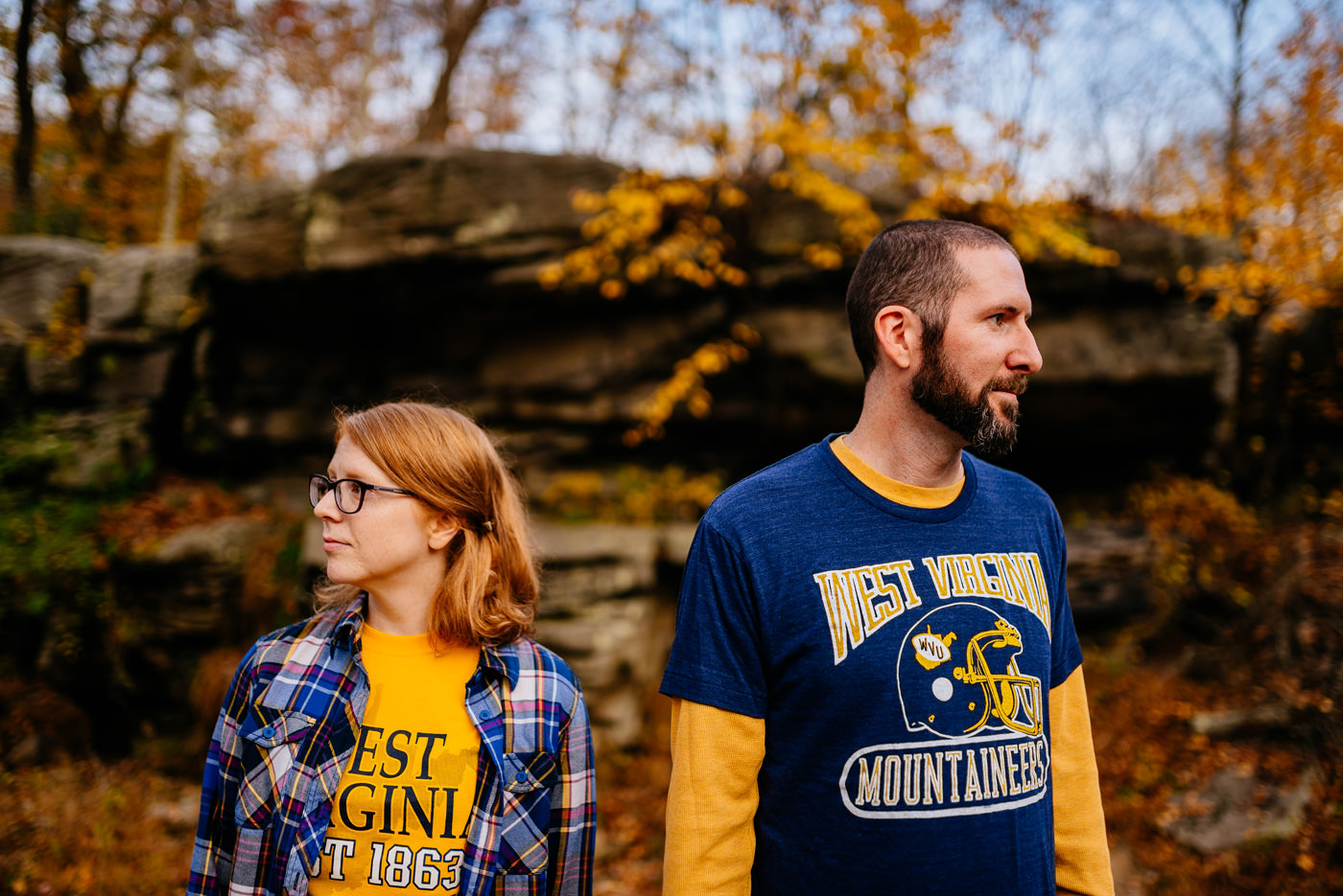 engagement session featuring wvu apparel