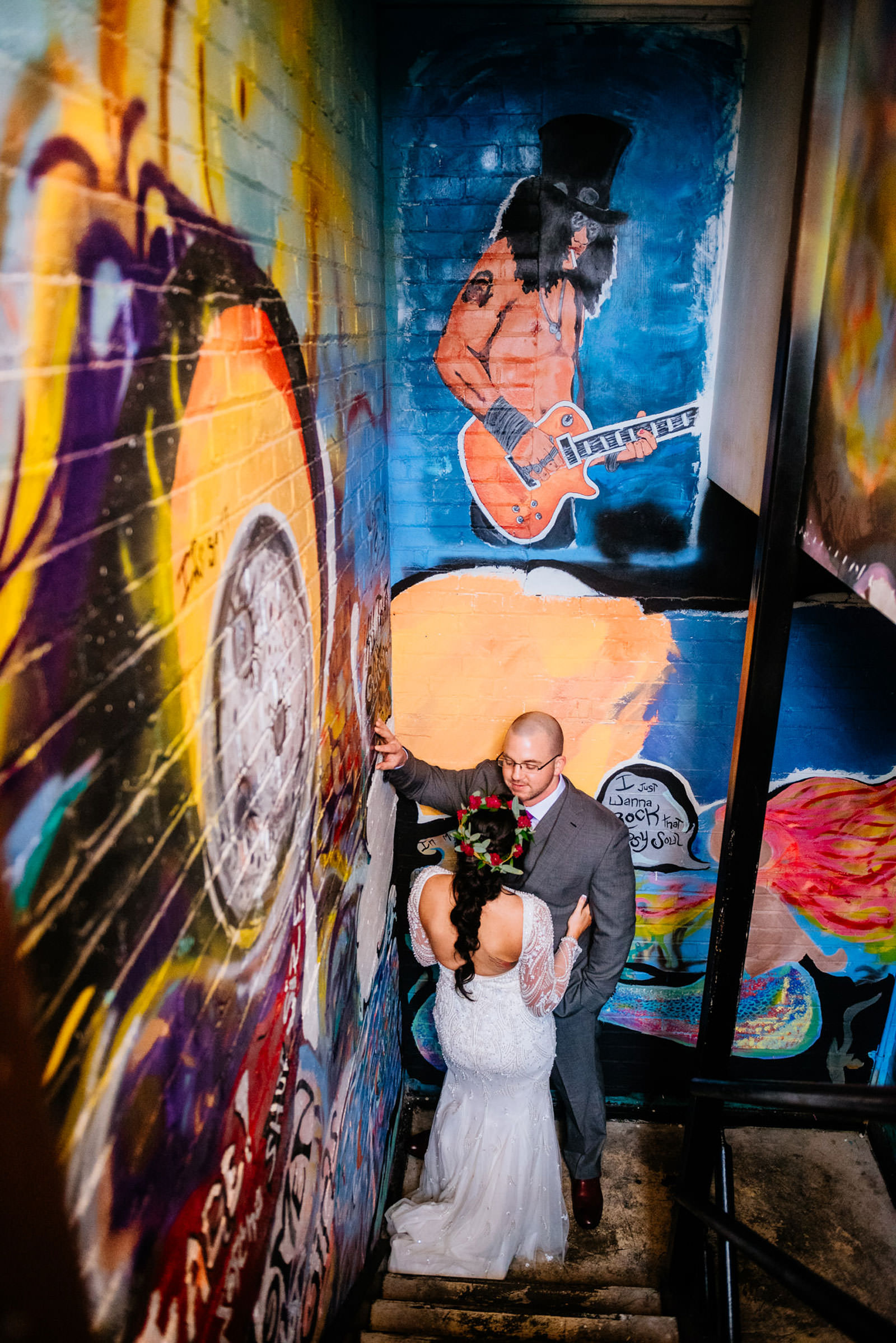 bride groom with slash from guns n roses
